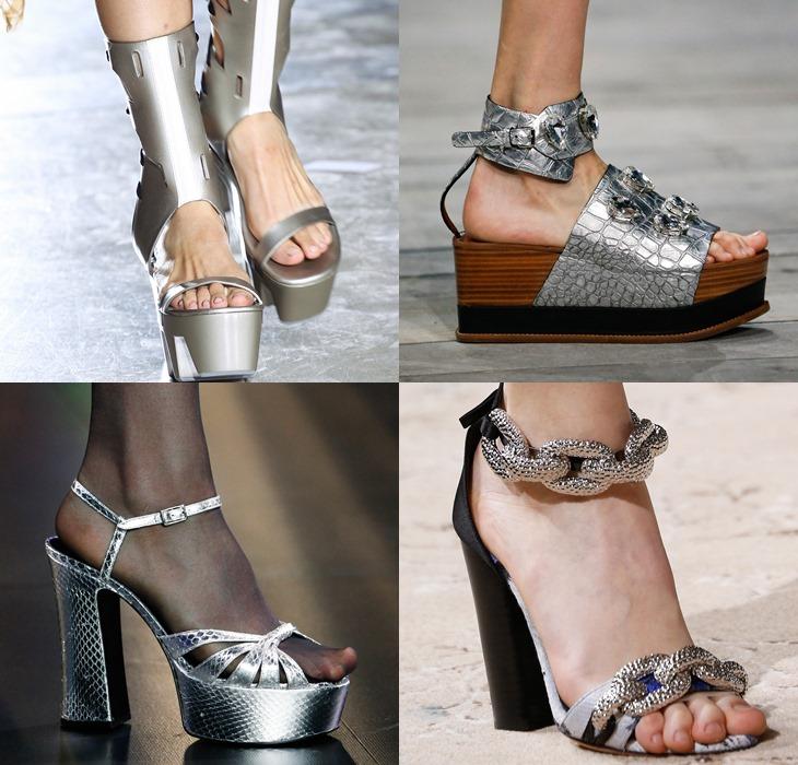 Серебряные туфли и ботильоны весна-лето 2015