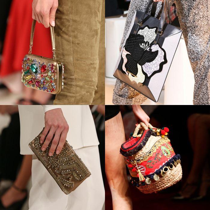 Модные женские сумки с инкрустацией и вышивкой весна-лето 2015
