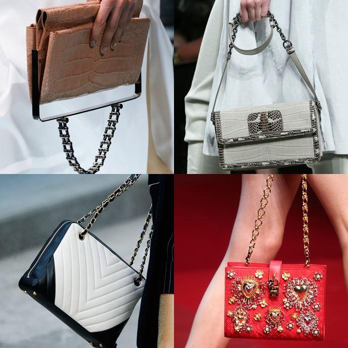 Модные женские сумки с ручкой-цепочкой весна-лето 2015