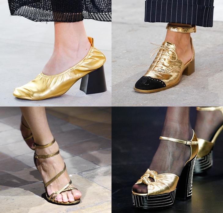 золотые туфли и ботильоны весна-лето 2015