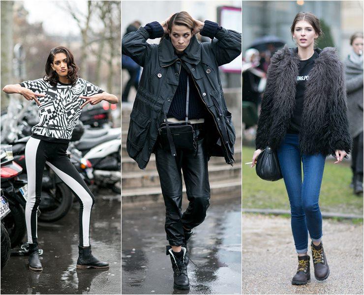 Уличный стиль моделей в Париже  (3)