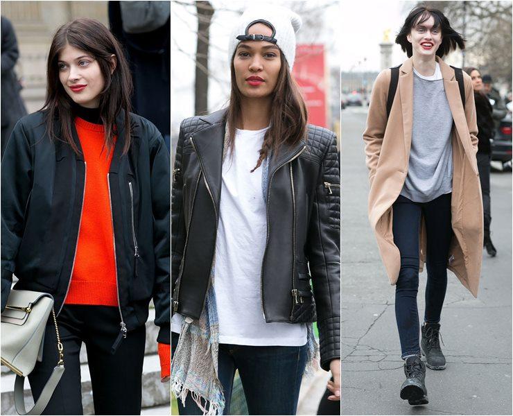 Уличный стиль моделей в Париже  (4)