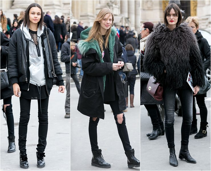 Уличный стиль моделей в Париже  (5)