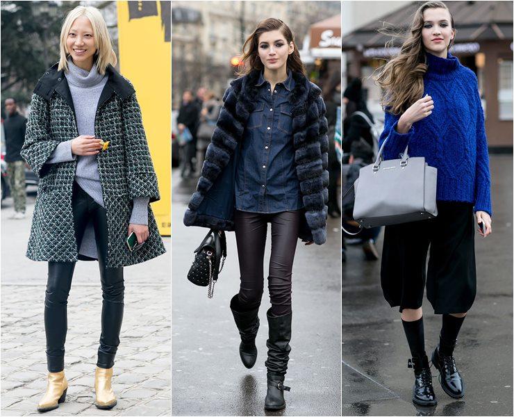 Уличный стиль моделей в Париже  (7)