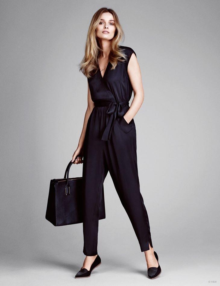 черный вечерний комбинезон брюки hm весна 2015