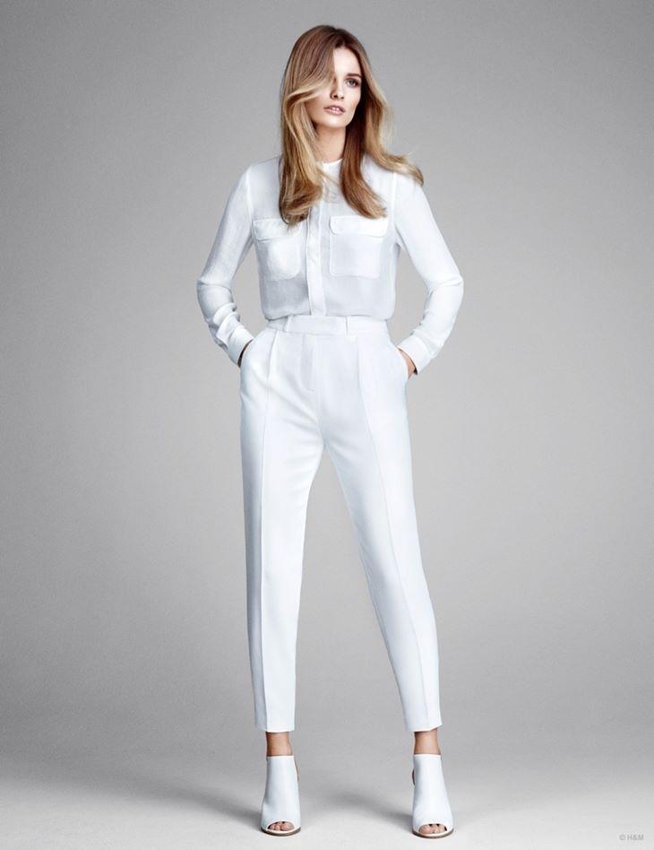 белые брюки hm весна 2015