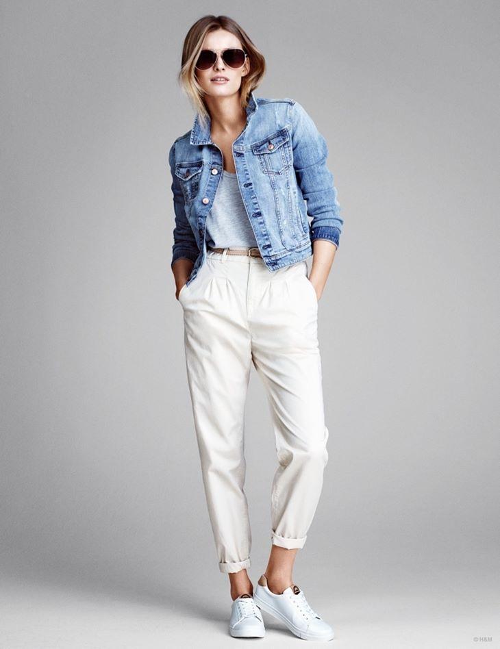 белые чиносы брюки hm весна 2015