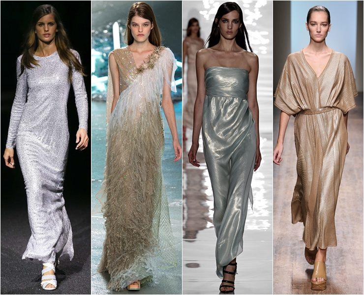 Длинные платья из блестящих тканей и с сияющей вышивкой весна лето 2015