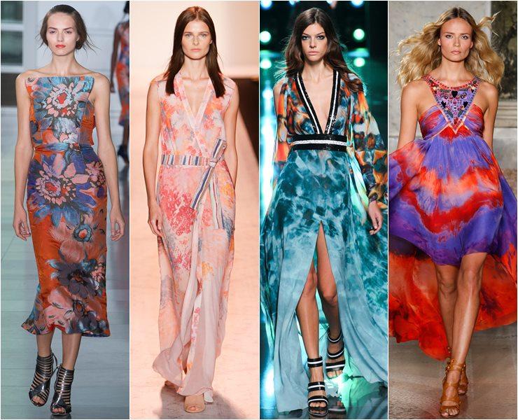 Длинные платья с акварельным принтом весна лето 2015