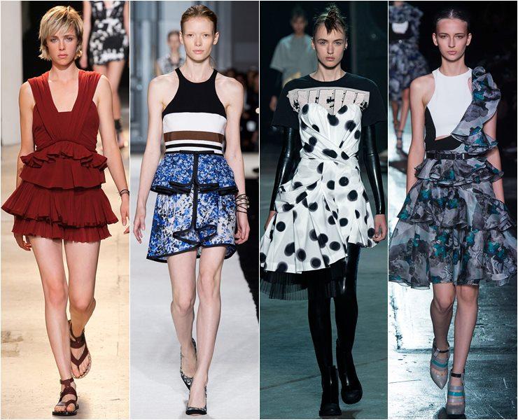 Короткие платья с воланами, оборками, рюшами и ярусами весна лето 2015
