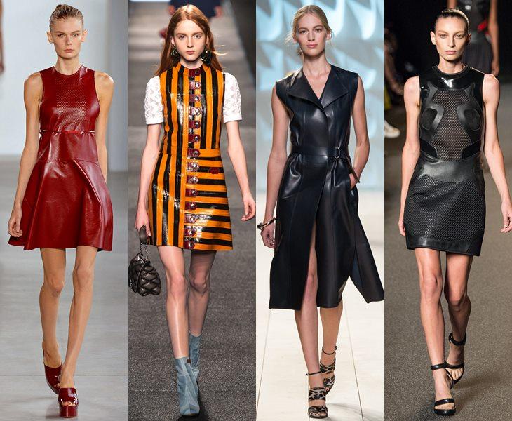 Кожаные платья весна лето 2015