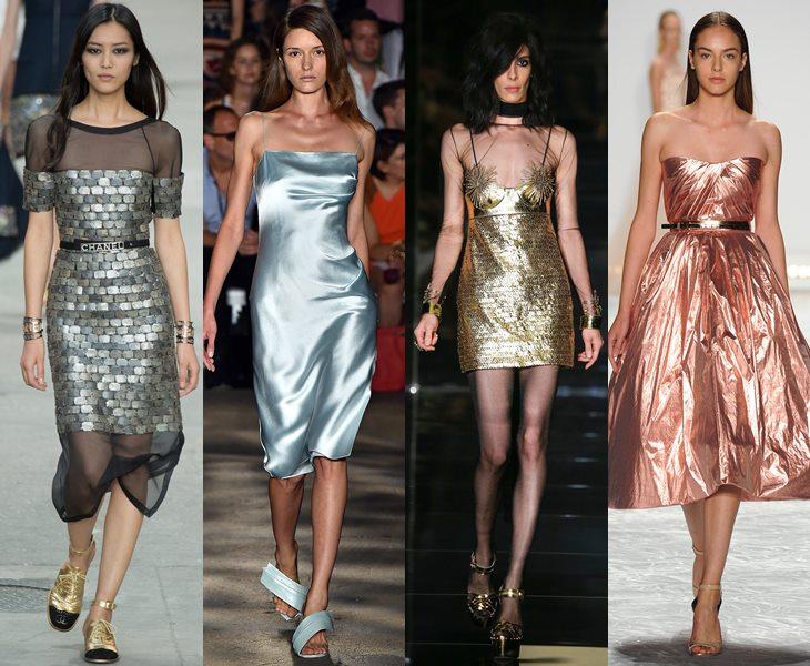 Платья с металлическим блеском весна лето 2015