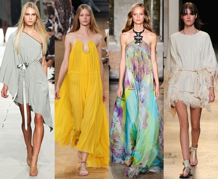Свободные платья-туники весна лето 2015