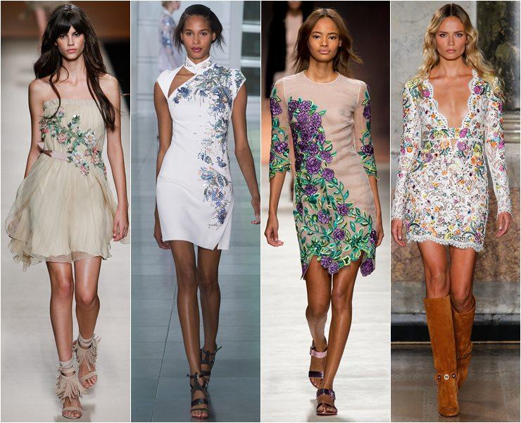 коктейльные платья с вышивкой и аппликациями весна-лето 2015
