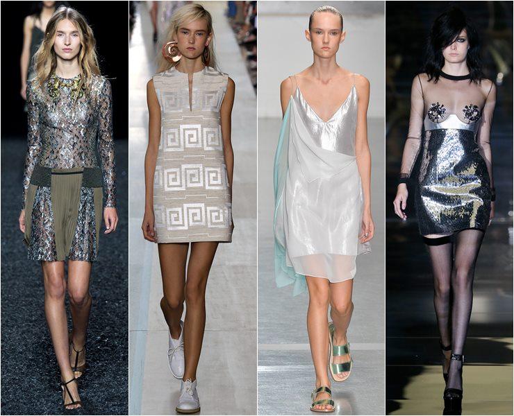 коктейльные платья серебристый металлик весна-лето 2015