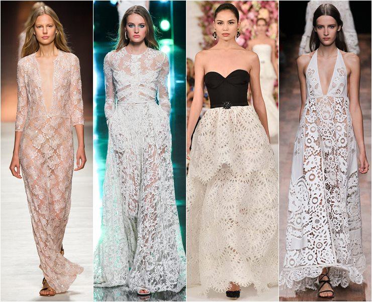 Кружевные вечерние платья весна лето 2015