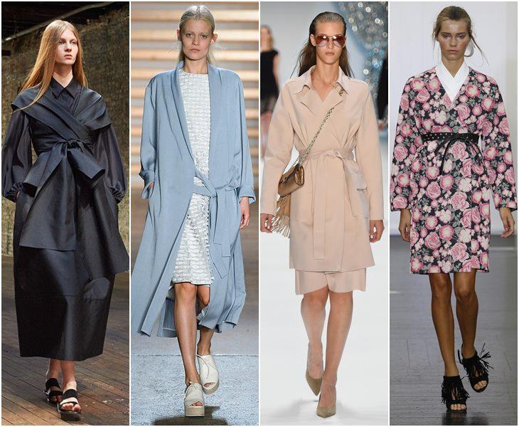 Пальто с запахом в стиле кимоно весна-лето 2015