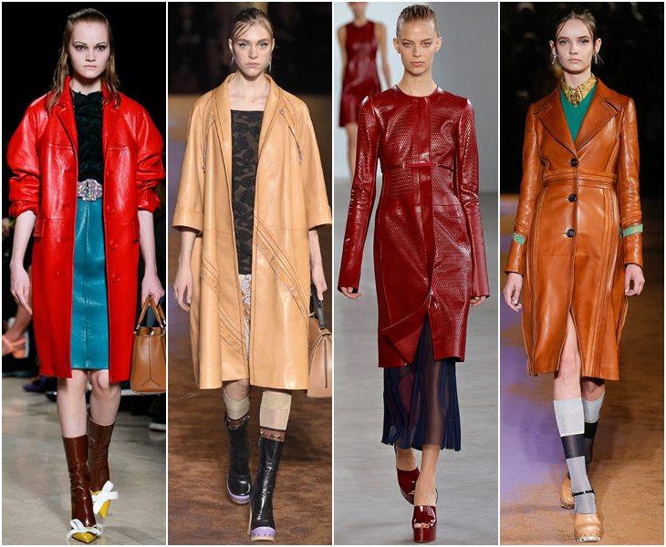 Кожаные пальто весна-лето 2015