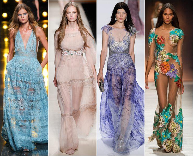 Прозрачные вечерние платья весна лето 2015
