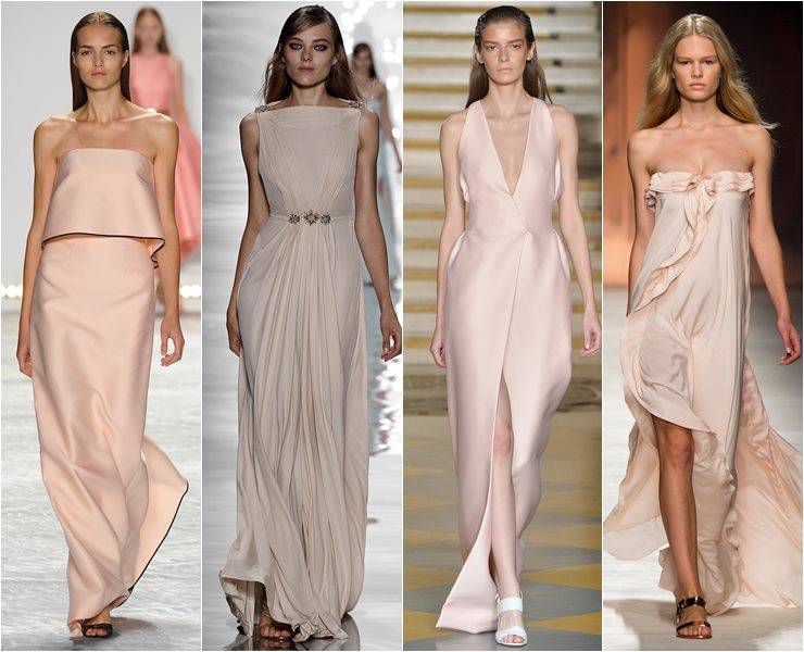 Вечерние платья телесного оттенка  весна лето 2015