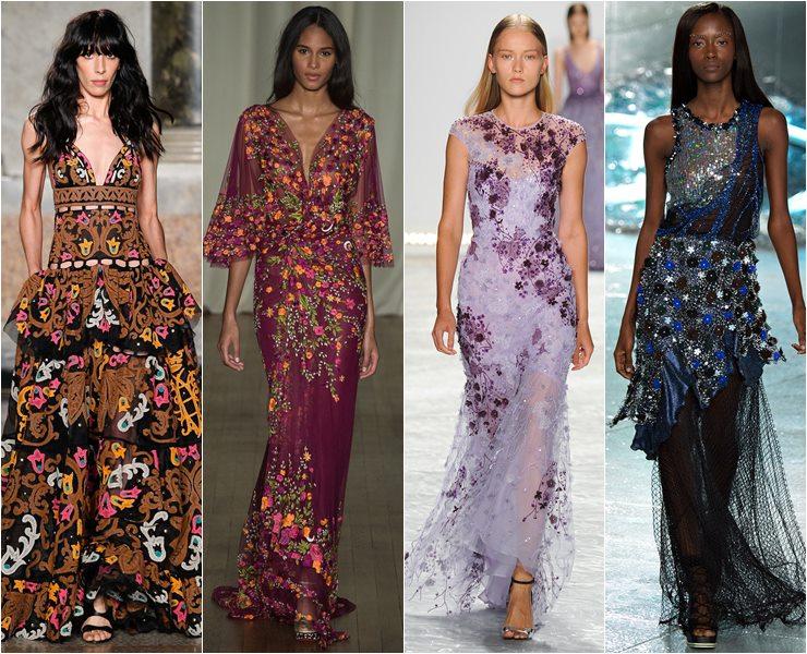 Вечерние платья с вышивкой и аппликациями весна лето 2015