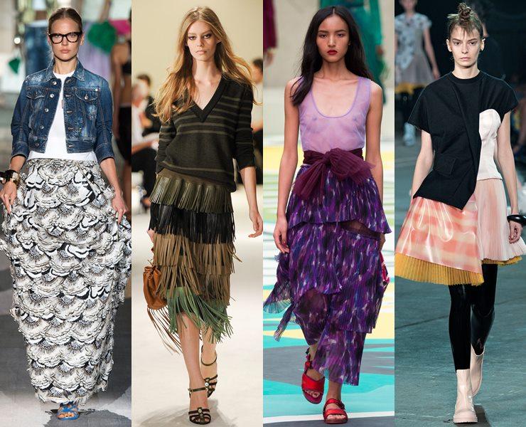 Многослойные юбки с ярусами весна-лето 2015