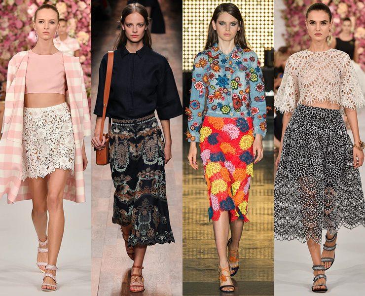 Кружевные юбки весна-лето 2015
