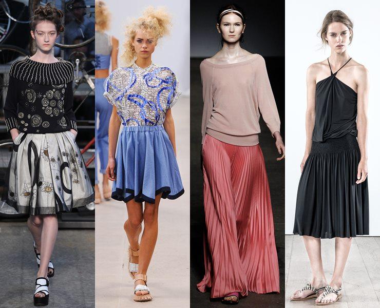 Плиссированные юбки весна-лето 2015
