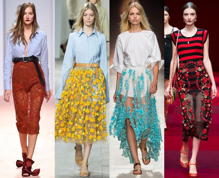 Прозрачные юбки весна-лето 2015