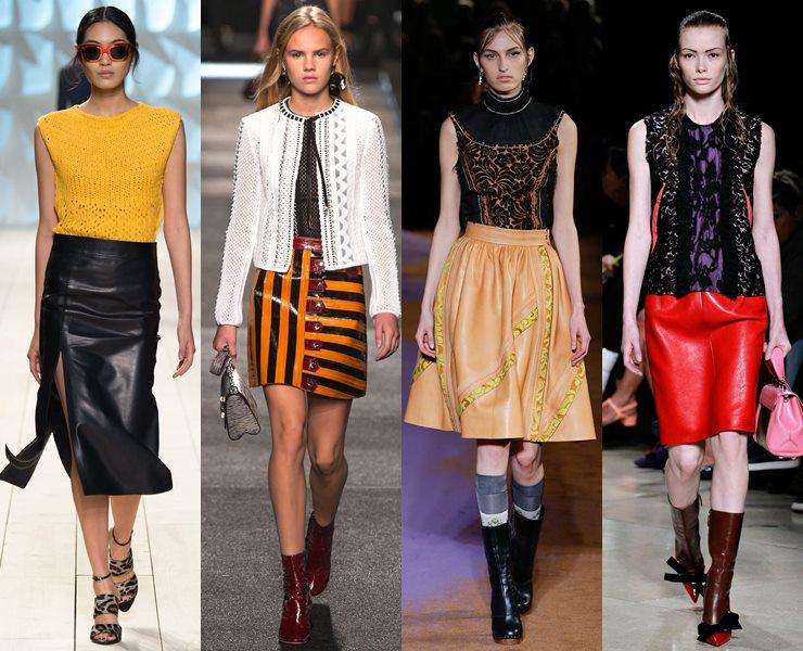 Кожаные юбки весна-лето 2015