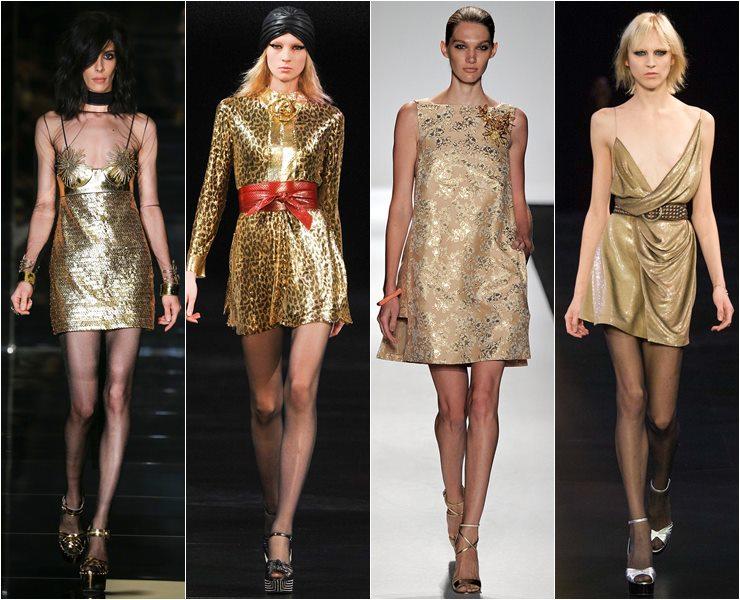 золотые коктейльные платья весна-лето 2015