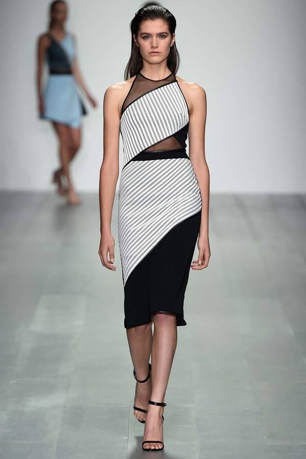 черно-белое платье весна лето 2015 David Koma. Черно-белый сарафан