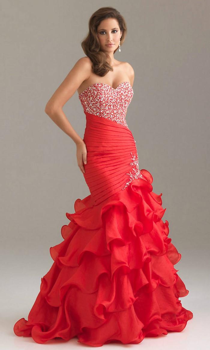 красное платье русалка с оборками на выпускной 2015