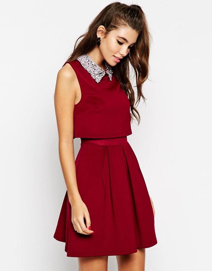 короткое темно-красное платье на выпускной 2015