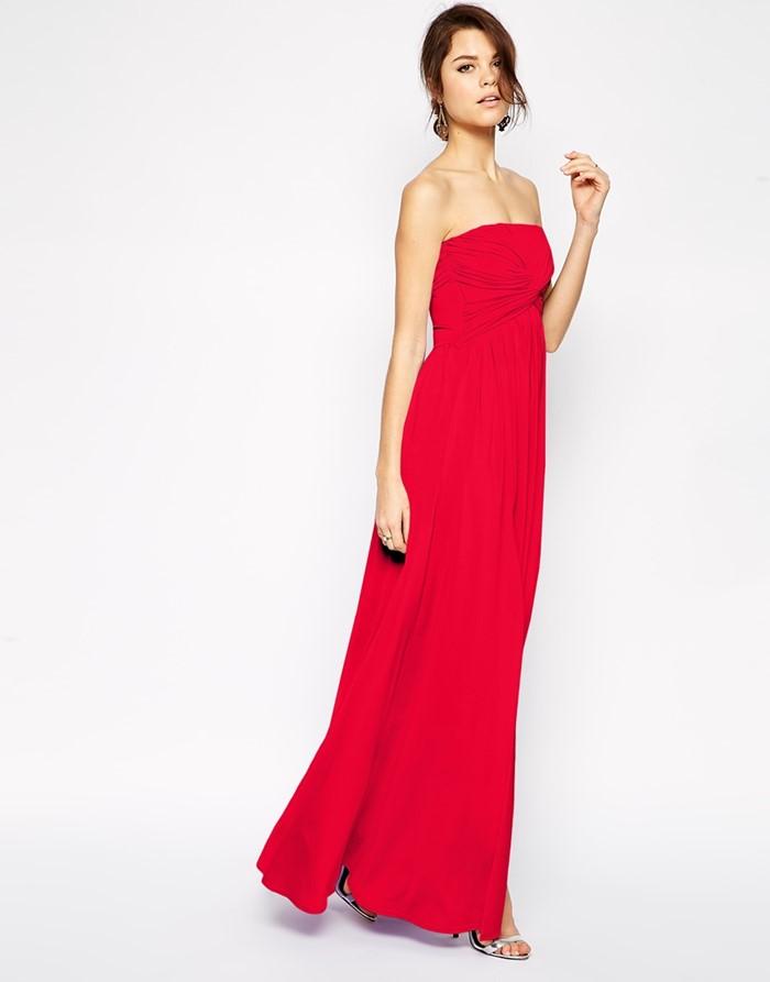длинное простое красное платье бюстье  на выпускной 2015