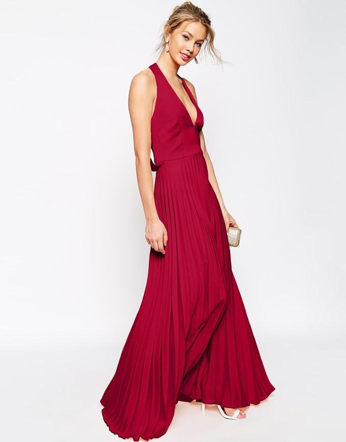темно-красное платье с плиссированной юбкой на выпускной 2015