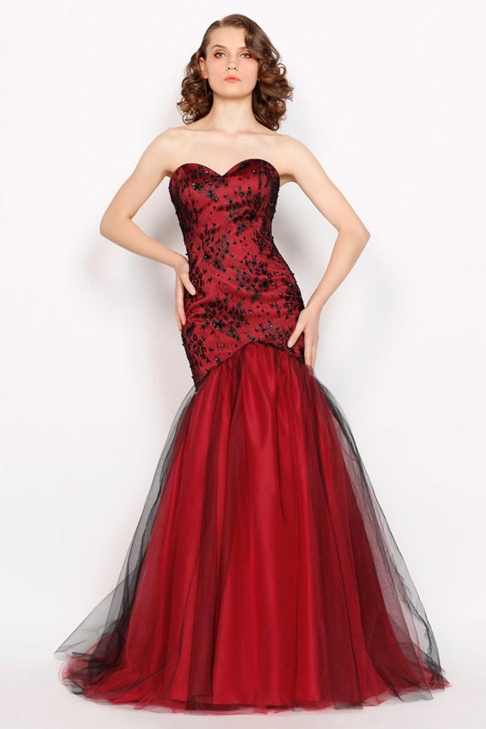 платье русалка бюстье красное с черным на выпускной 2015