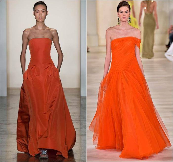 длинные вечерние оранжевые платья весна-лето 2015