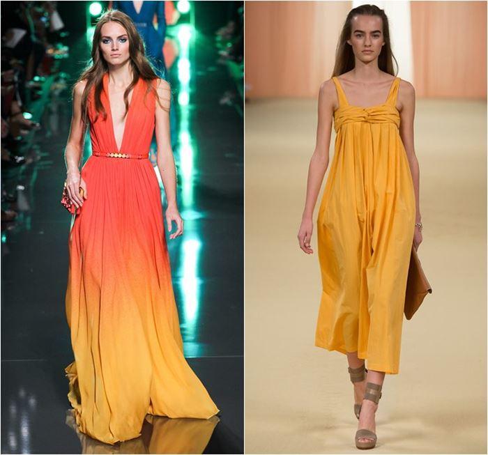 летние оранжевые платья весна-лето 2015