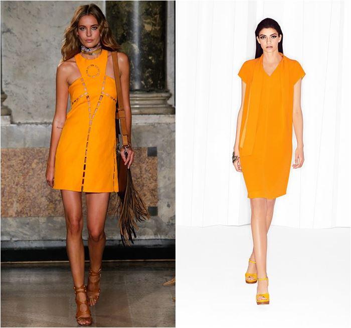 яркие коктейльные оранжевые платья весна-лето 2015