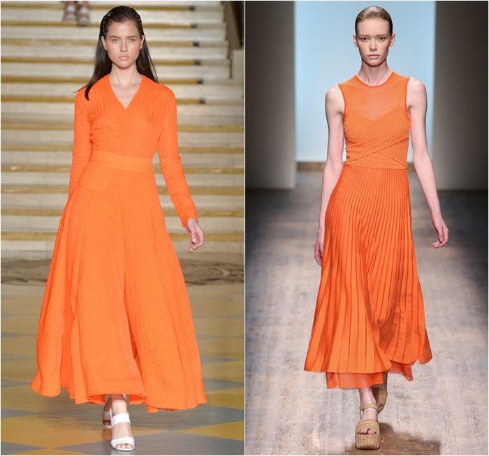 яркие приталенные оранжевые платья весна-лето 2015