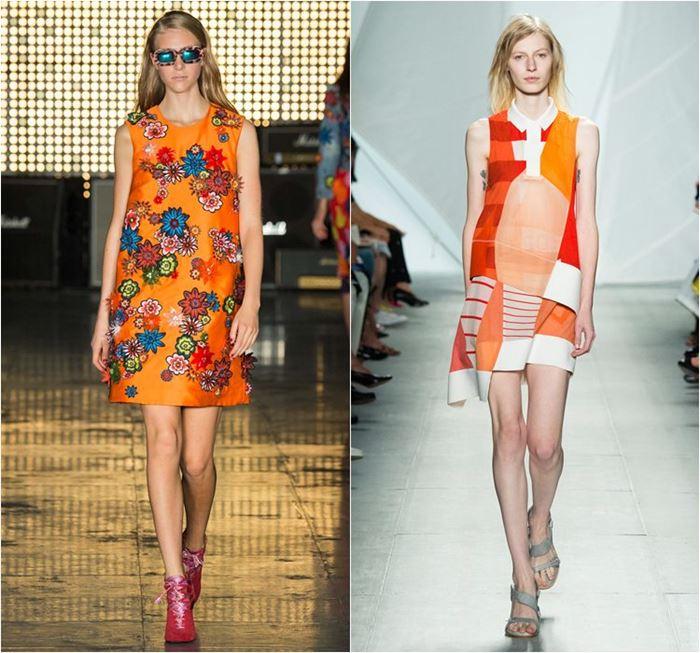 короткие оранжевые платья весна-лето 2015 с принтами и аппликациями