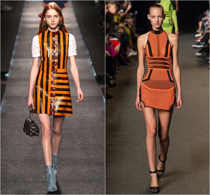 черно-оранжевые платья весна-лето 2015