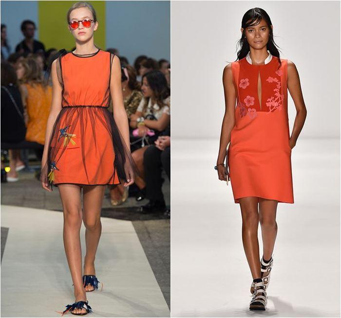 яркие короткие оранжевые платья весна-лето 2015