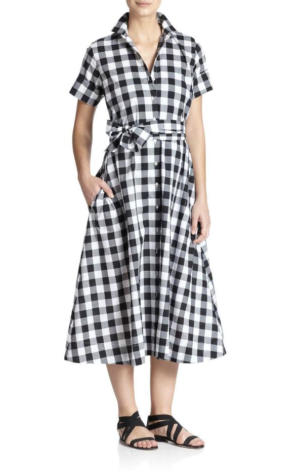 черно-белое платье в клетку 2015