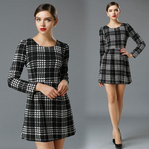 черно-белое приталенное платье в клетку 2015