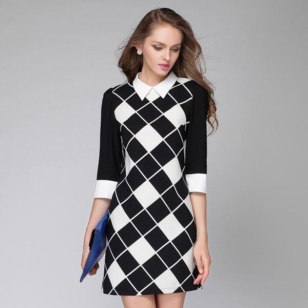черно-белое короткое платье в клетку 2015