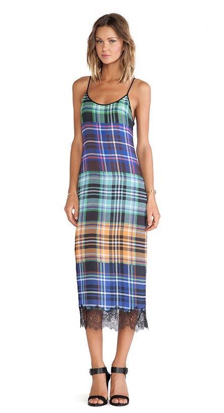 цветное платье-сарафан в клетку 2015