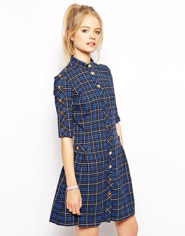 синее платье-рубашка  в клетку 2015