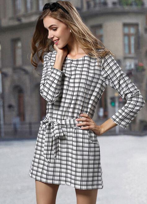 короткое платье в клетку с длинным рукавом 2015
